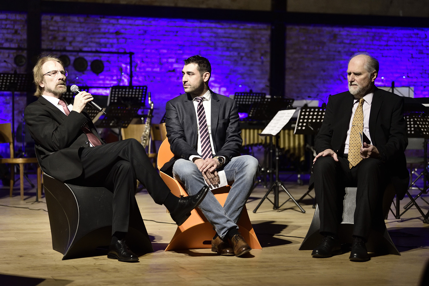 composers Marcel Wengler and Davorin Kempf and artist talk moderator, composer Ante Knešaurek