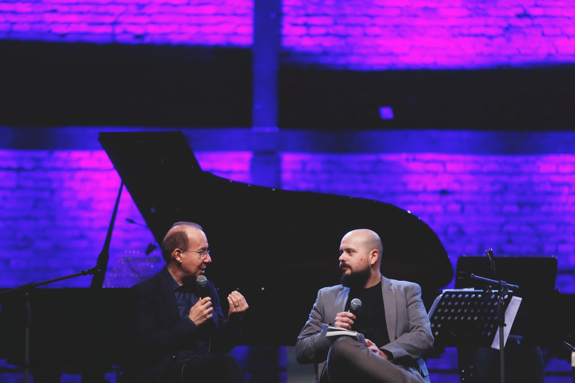 Ivan Fedele and moderator of the artist talk, composer Tomislav Oliver