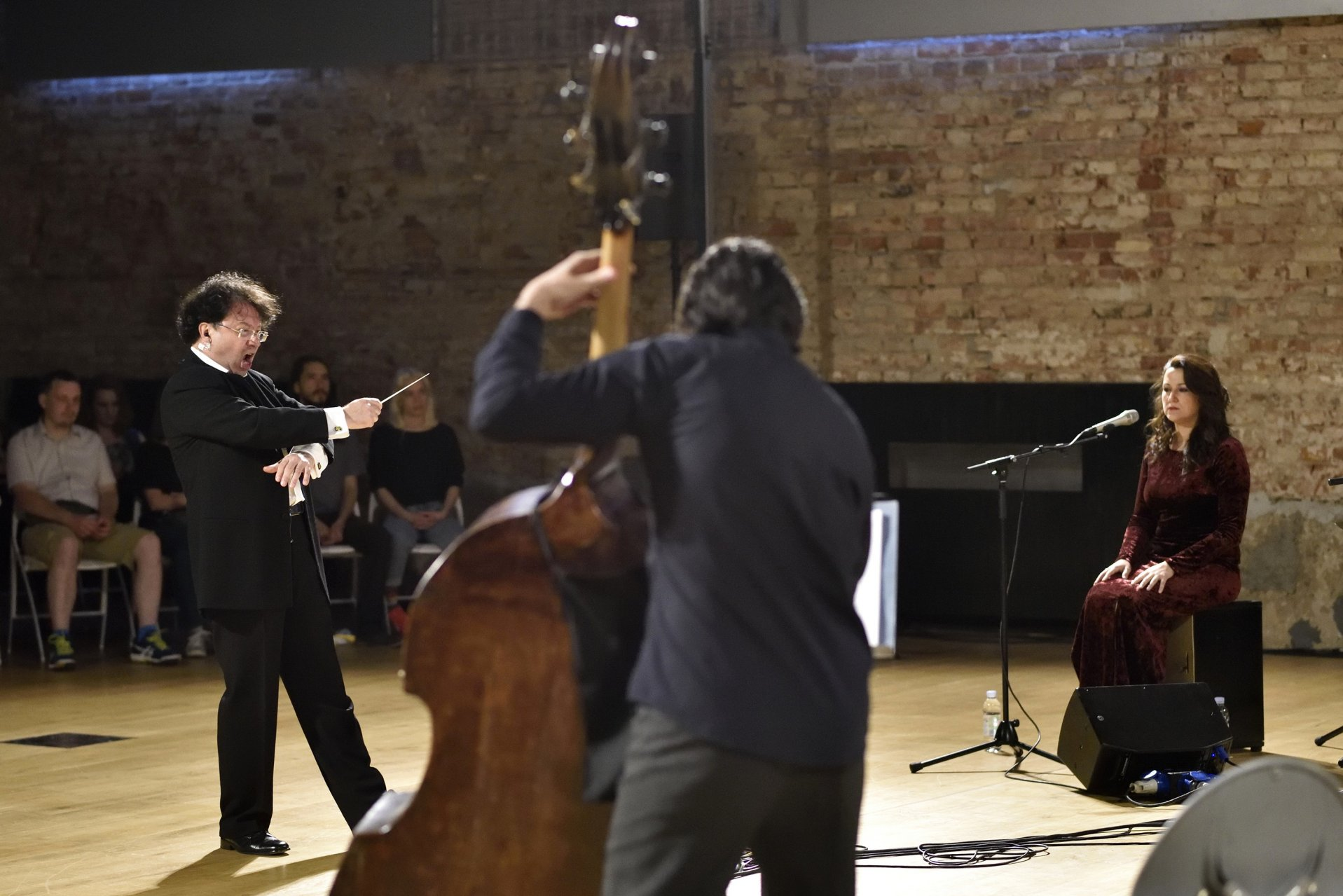 composer and conductor Mauricio Sotelo with the soloists flamenco singer Alba Carmona and double bass player Goran Kostić